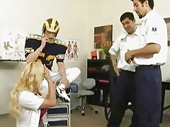 Slutty big breasted doctor shags with injured football player
