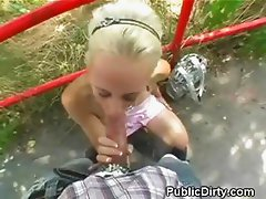 Dirty Blonde Sucking Dick And Takes Cumshot Facial In Public