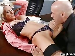 Blonde busty cougar in teasing lingerie gets boned on desk