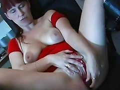 Busty amateur wife toys sucks and fucks on a table