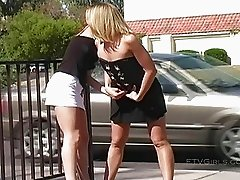 Ashley and Brianna stunning lesbian teens having sex in a public place