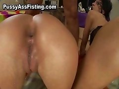 Busty slut gets her ass fucked and pussy part2