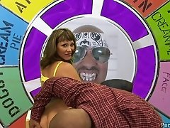Heavy chested brunette milf gets to suck and ride black cannon