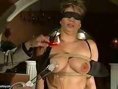 Busty girl getting bondaged and punished hard