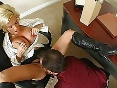 Amazing busty blonde milf getting her pussy licked and doing blowjob