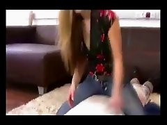 cute german mistress facesitting and spitting