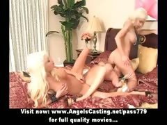 Three blonde lesbian girls kissing and licking and toying pussy