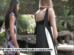 Mysterious Two Gorgeous Teen Girls Public Flashing