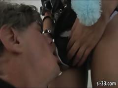 Nasty tranny cop Sasha Strokes fucks guy