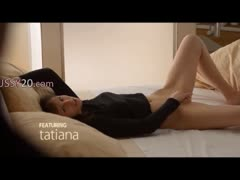 Voyeur movie of brunette woman Tatiana