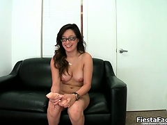 Cute nerd girl goes crazy sucking