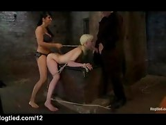 Bound babe both ends fucked by mistress and master