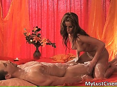 Incredible brunette hottie massage guy