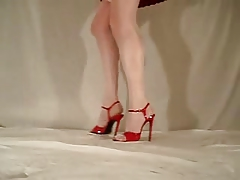 Red pleated mini  Red FMP heels