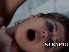 Lesbian strap on hardcore intercourse