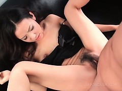 Asian beauty gets horny prick shoved in her twat