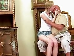 Grandpa and cute teen making love