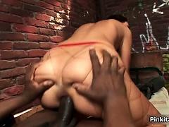 Busty brunette fucked by big black guy