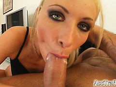 H is for Horny! This sexy braces wearing babe gets her horniness fixed by a big cock deep in her ass. After hard anal she swallows like a champ.