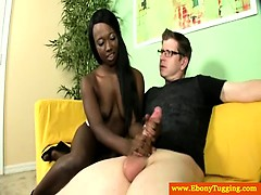 Black booty babe tugging white meat