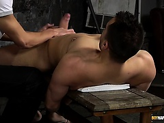 Matt gets a hot cock riding from dominant Luke in this