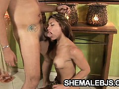 Horny shemale Mixely Brasil jerks off while she sucks on