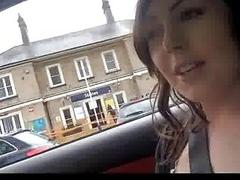 Amateur exhibitionist masturbating in a car