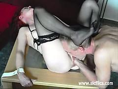 Skinny wife fist fucked in bondage