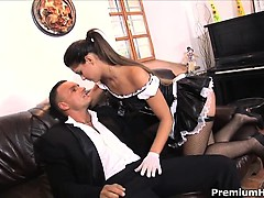Naughty Spanish maid Valentina serving both of her masters