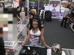 Busty latina sells her body at pawn shop