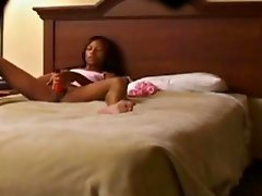 spying Teen Ilanga toying in the bedroom
