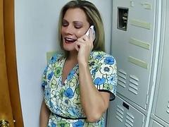 Allura Skye enjoys milking a patient during the prostate exam