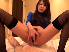 Slender Japanese wife needs a thick cock filling her peach
