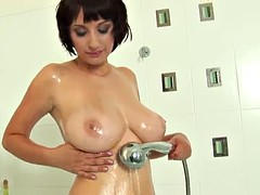 shower time with a busty brunette