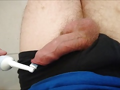 Electric toothbrush on my cock