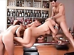 Double penetration of skinny slut in foursome