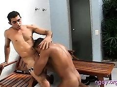 Hot gay man gives a sloppy blow job and rides his lover