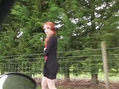 British Redhead Ella Hughes outdoor sex