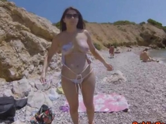 Incredibly hot babe Valentina Nappi fucked on the beach