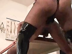 Hot chick strapon fucks and double fists him