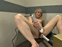 hot blonde expriments with machine