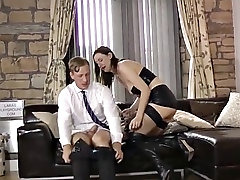 uk milf in fishnets and high heels rides a huge cock