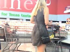 Skinny Blonde in Gray Dress