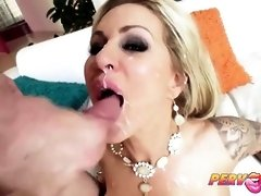 Tatted light-haired cougar with a ample grin is having casual bang-out with a much junior dude