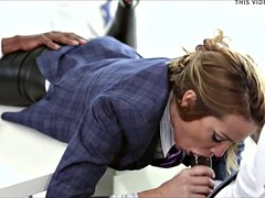 lady boss decides to give her employees head over a raise