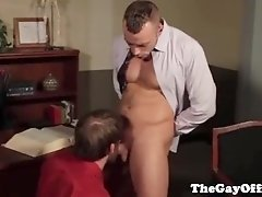 Gay office sex with hungry stud and kinky hunk