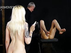 Slave girls whip each others pussies