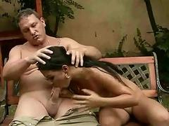 Horny guy fucking and pissing on hot girl