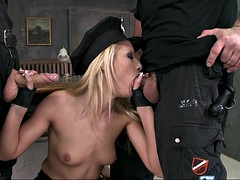 slim blonde cop chary kiss gives her partners two blowjobs