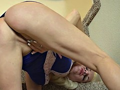 Mature blonde milf in heat fingers her dripping wet twat